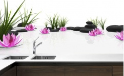Panel szklany do kuchni GRASS & LOTUS
