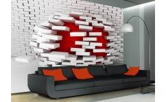 Fototapeta do salonu 3D WHITE & RED BRICK