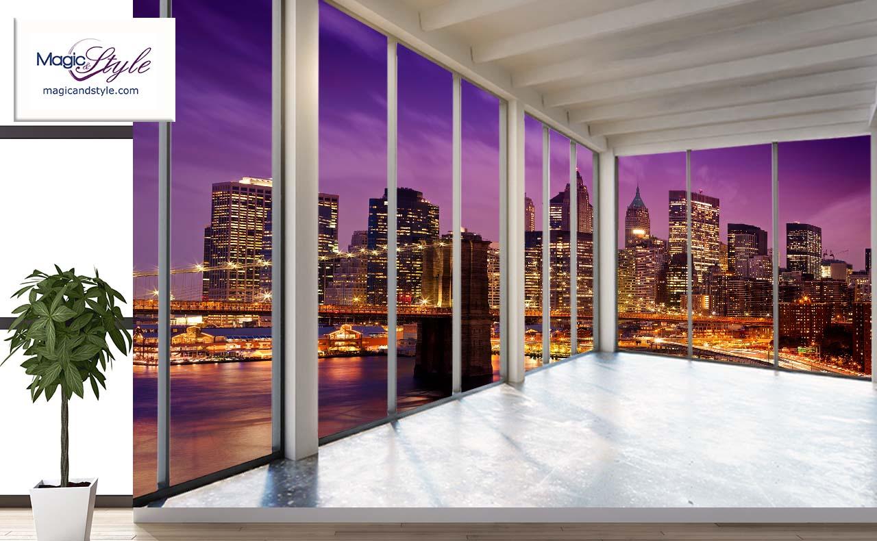 Fototapeta Do Salonu 3d Violet Brooklyn Magic Style