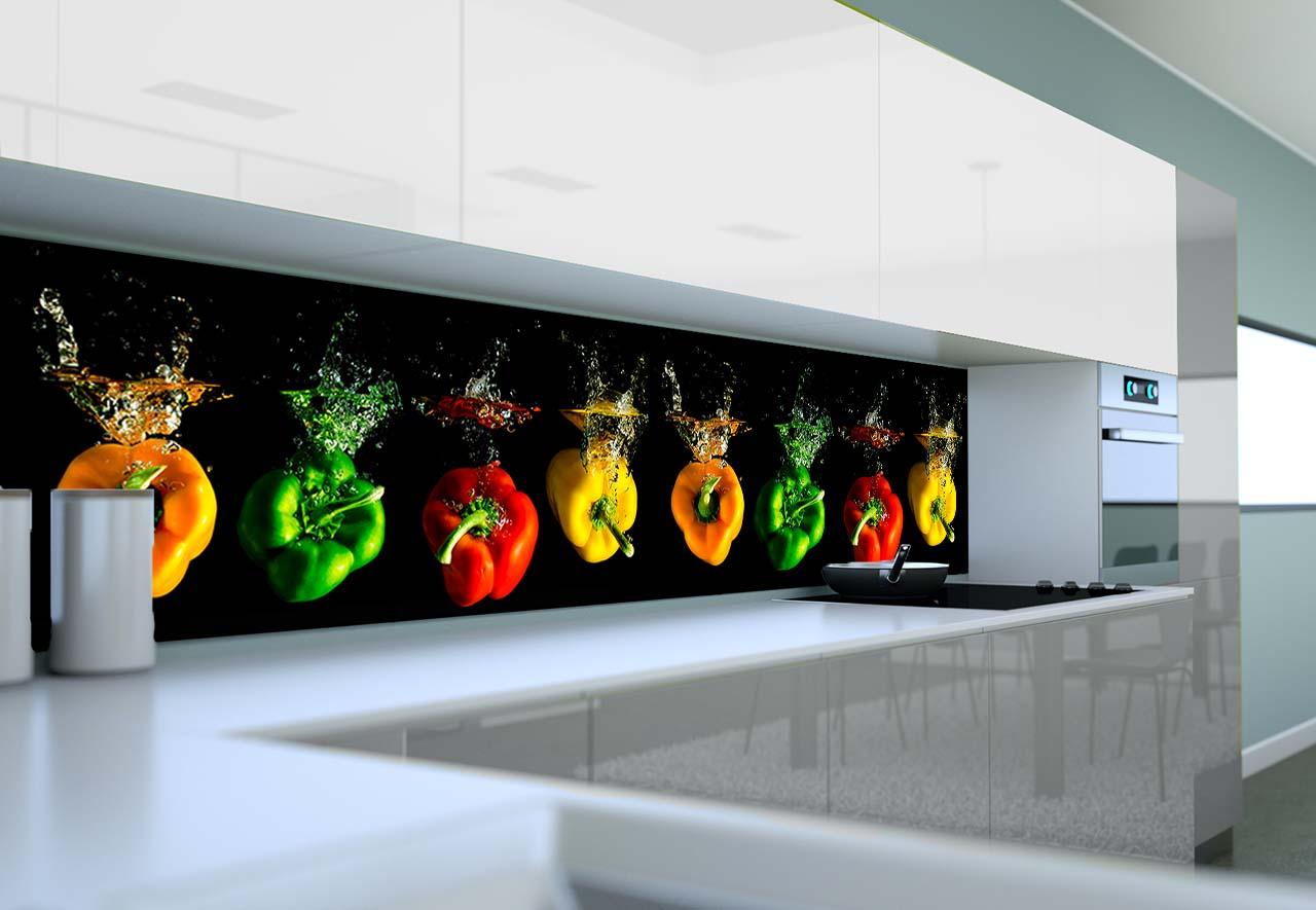 Panel Szklany Do Kuchni Papryki W Wodzie