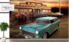 Fototapeta do salonu AMERICAN DINER & OLD CAR