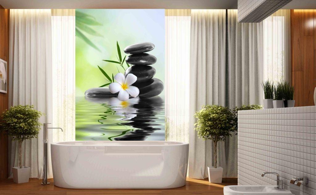 Panel Szklany Do łazienki Bazalt I Kwiat