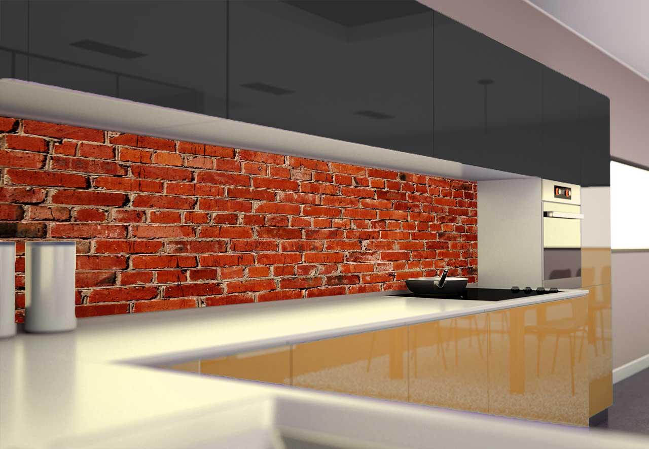 Panel Szklany Do Kuchni Czerwona Cegła
