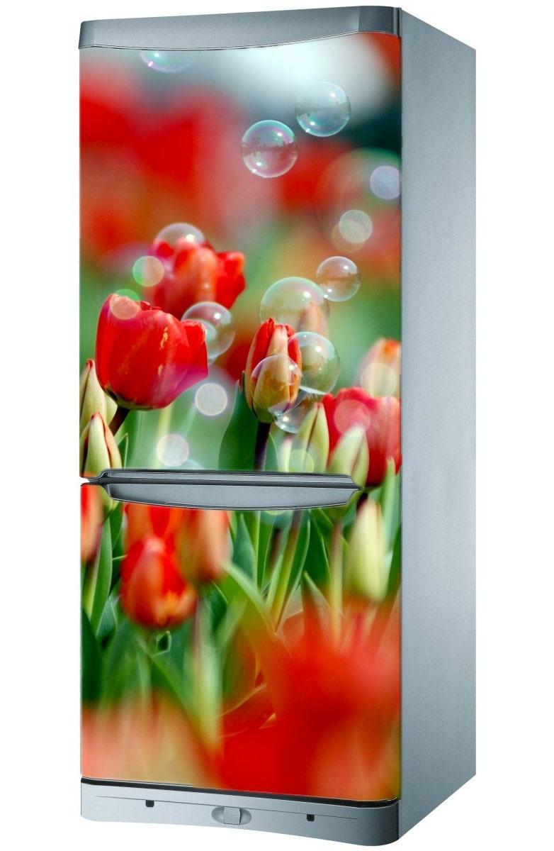 naklejka magnes na lod243wkę czerwone tulipany magic amp style