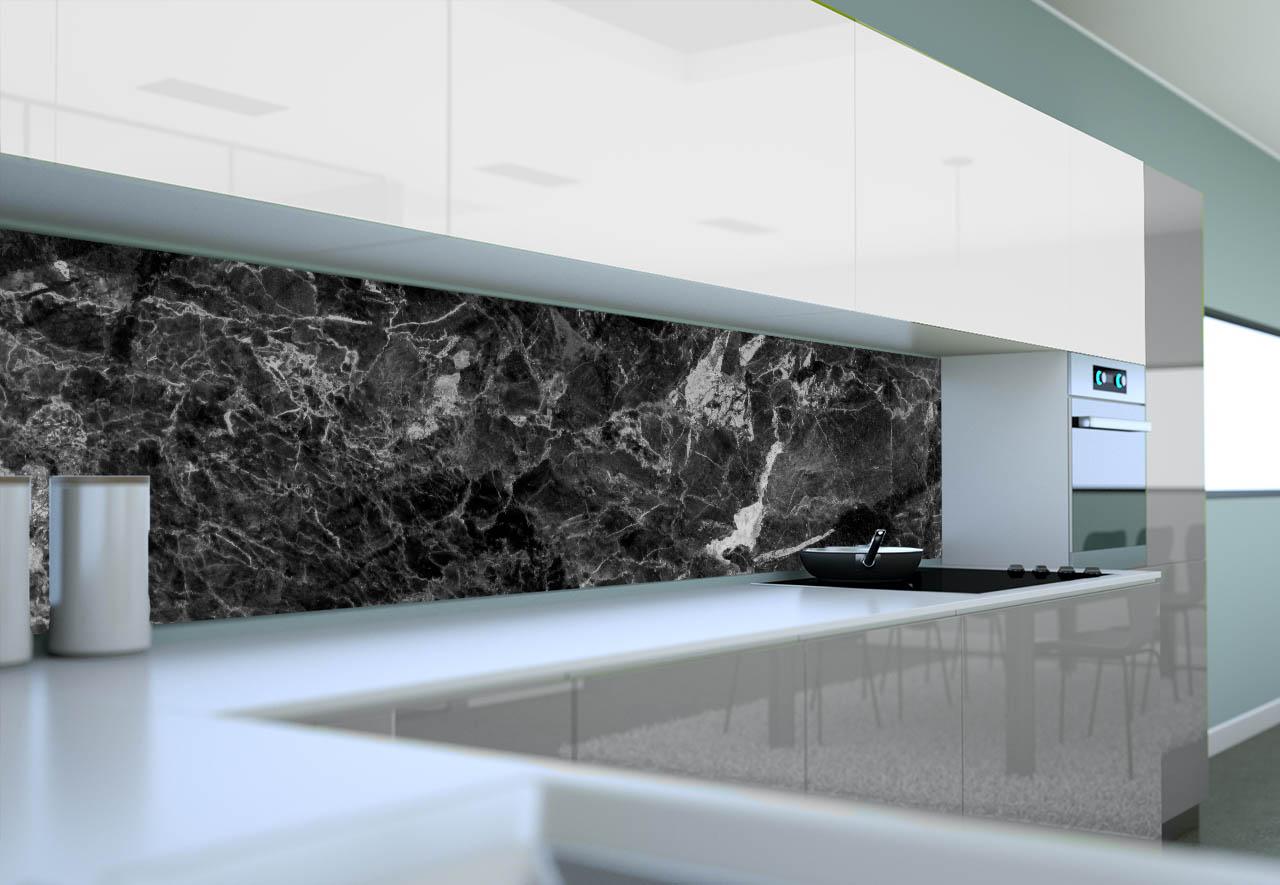 Panel Szklany Do Kuchni Czarny Marmur