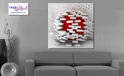 Obraz canvas 3D WHITE & RED BRICK