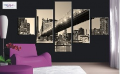 Obraz canvas poliptyk BROOKLYN BRIDGE SEPHIA