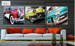 Obraz canvas tryptyk OLD CARS