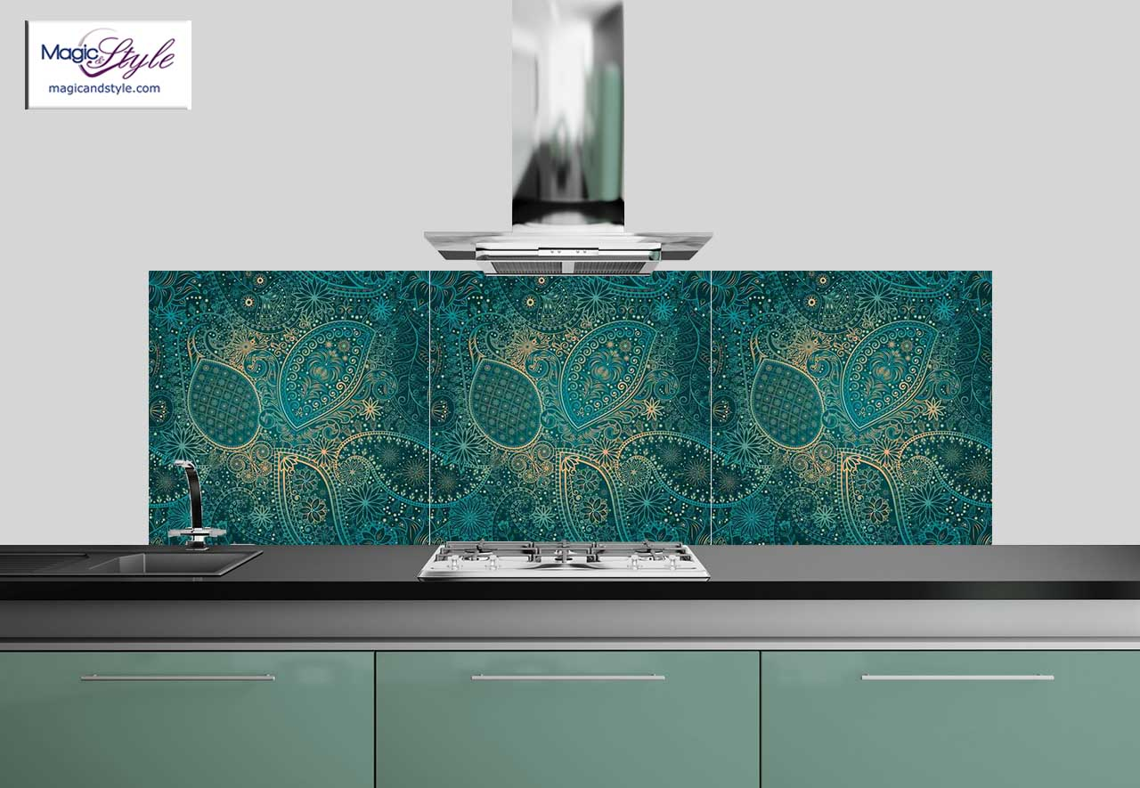 panel szklany do kuchni 60x60cm indian floral 3d magic style. Black Bedroom Furniture Sets. Home Design Ideas