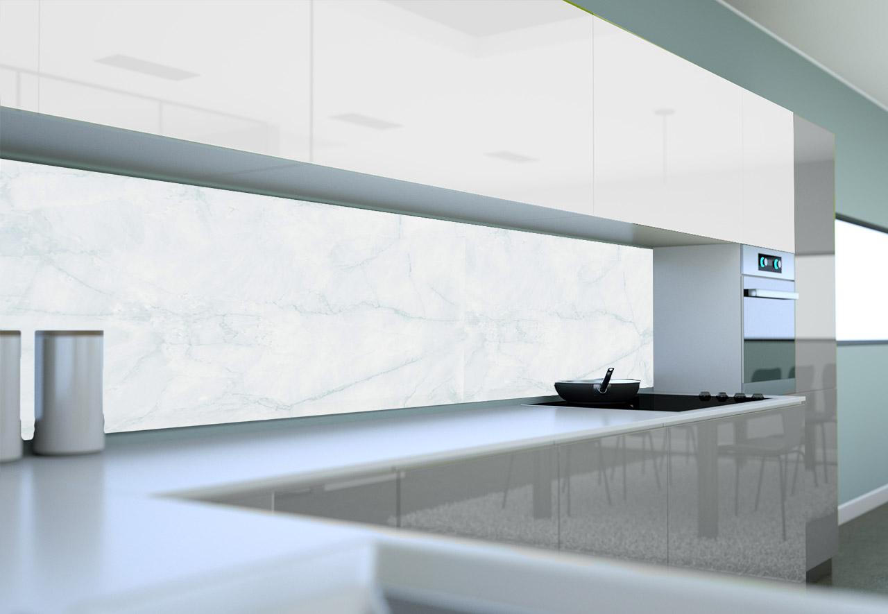 Panel Szklany Do Kuchni Biały Marmur