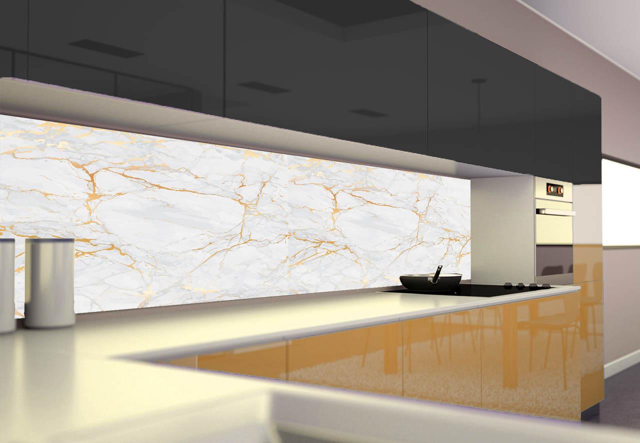 Panel Szklany Do Kuchni Biały Marmur Ii