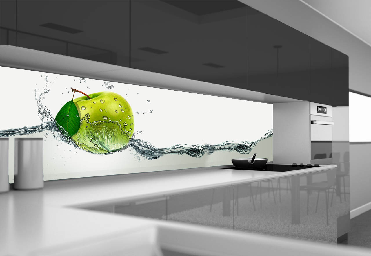 Panel Szklany Do Kuchni Zielone Jabłuszko Ii