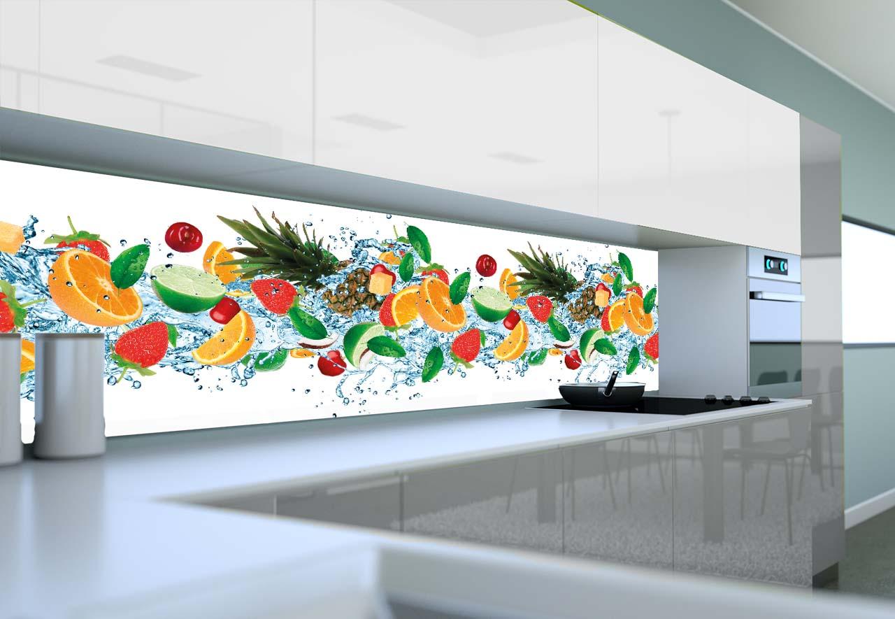 Panel Szklany Do Kuchni Wirujące Owoce