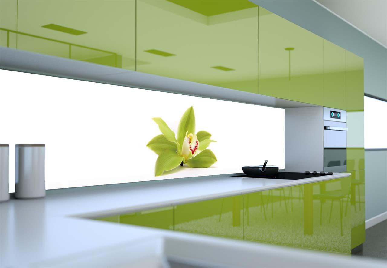 Panel Szklany Do Kuchni Zielony Storczyk