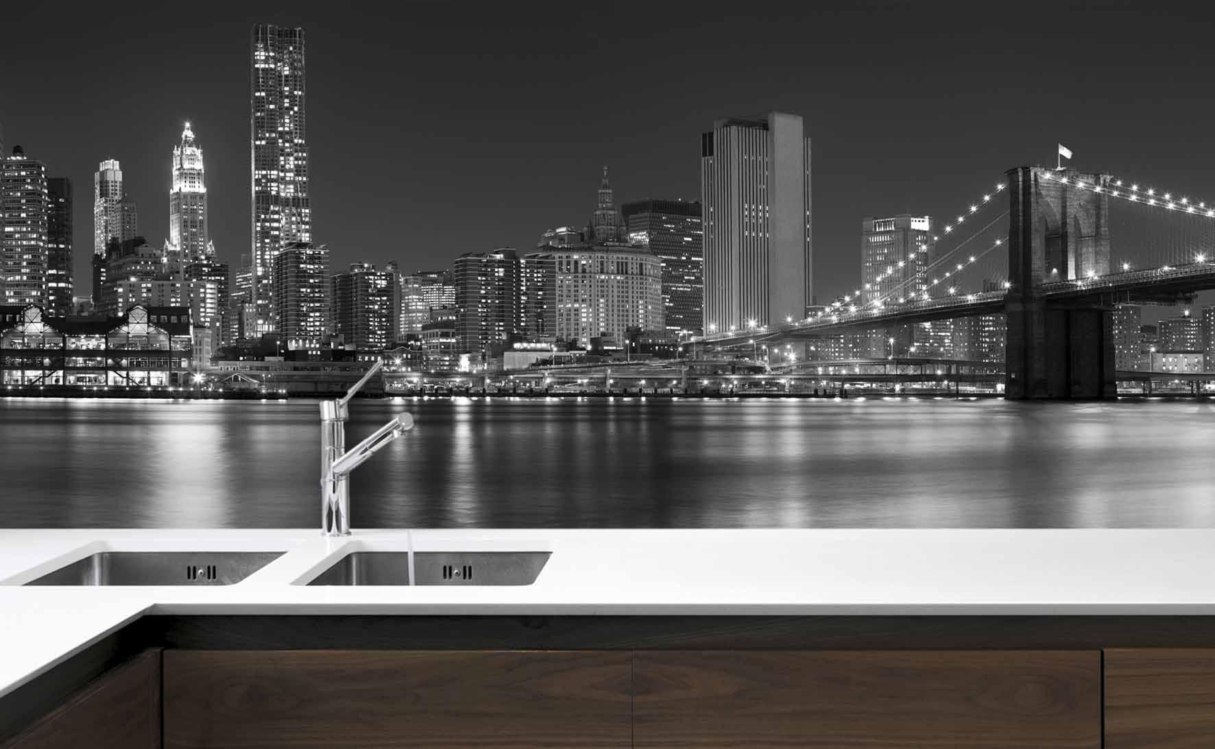 Panel Szklany Do Kuchni Brooklyn Bridge Black White