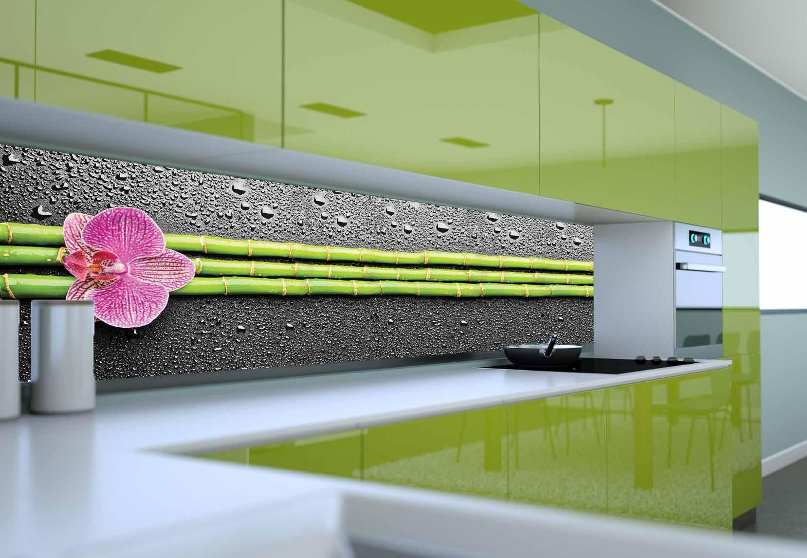 Panel Szklany Do Kuchni Orchidea Bambus