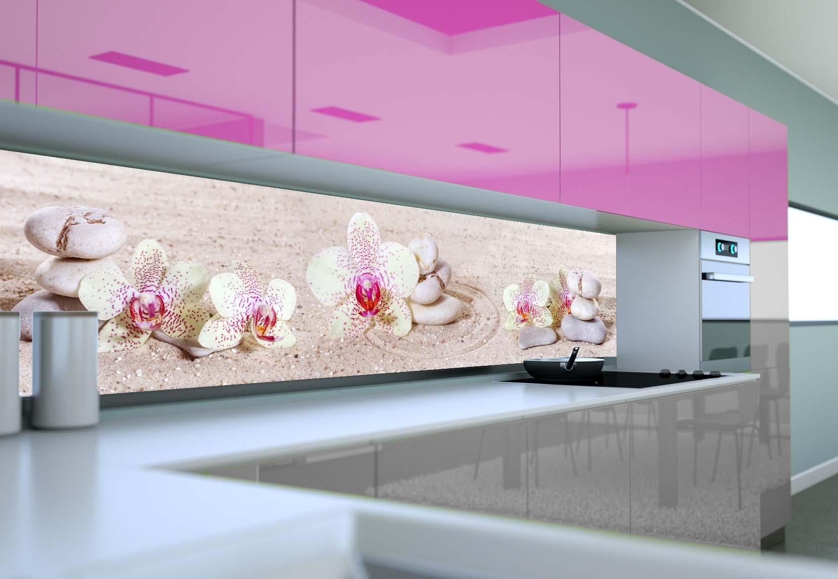 Fototapeta Flizelinowa Do Kuchni Storczyki Biało Różowe Ii 296x60cm