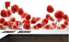 Panel szklany do kuchni POPPY FLOWERS