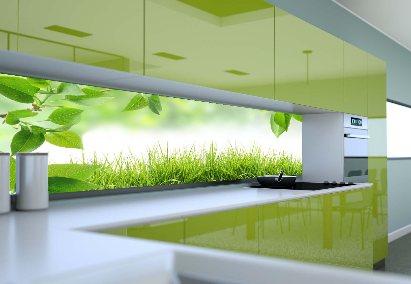 Panel Szklany Do Kuchni Grass Leaf