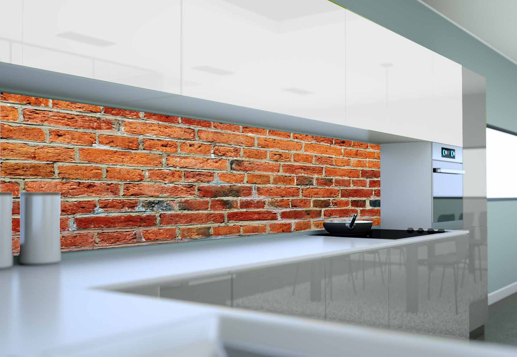 Panel Szklany Do Kuchni Czerwona Cegła Ii