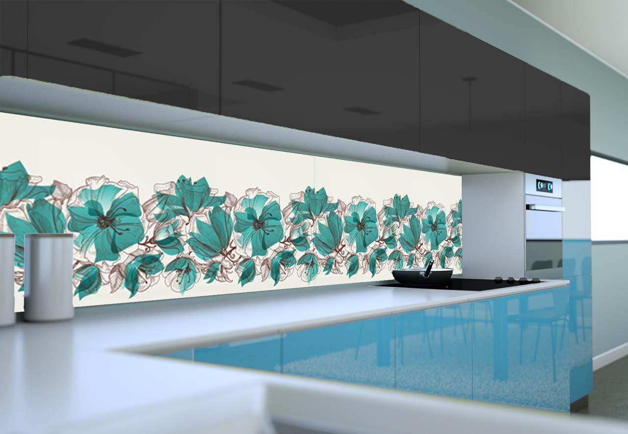 Panel Szklany Do Kuchni Turkusowe Kwiaty