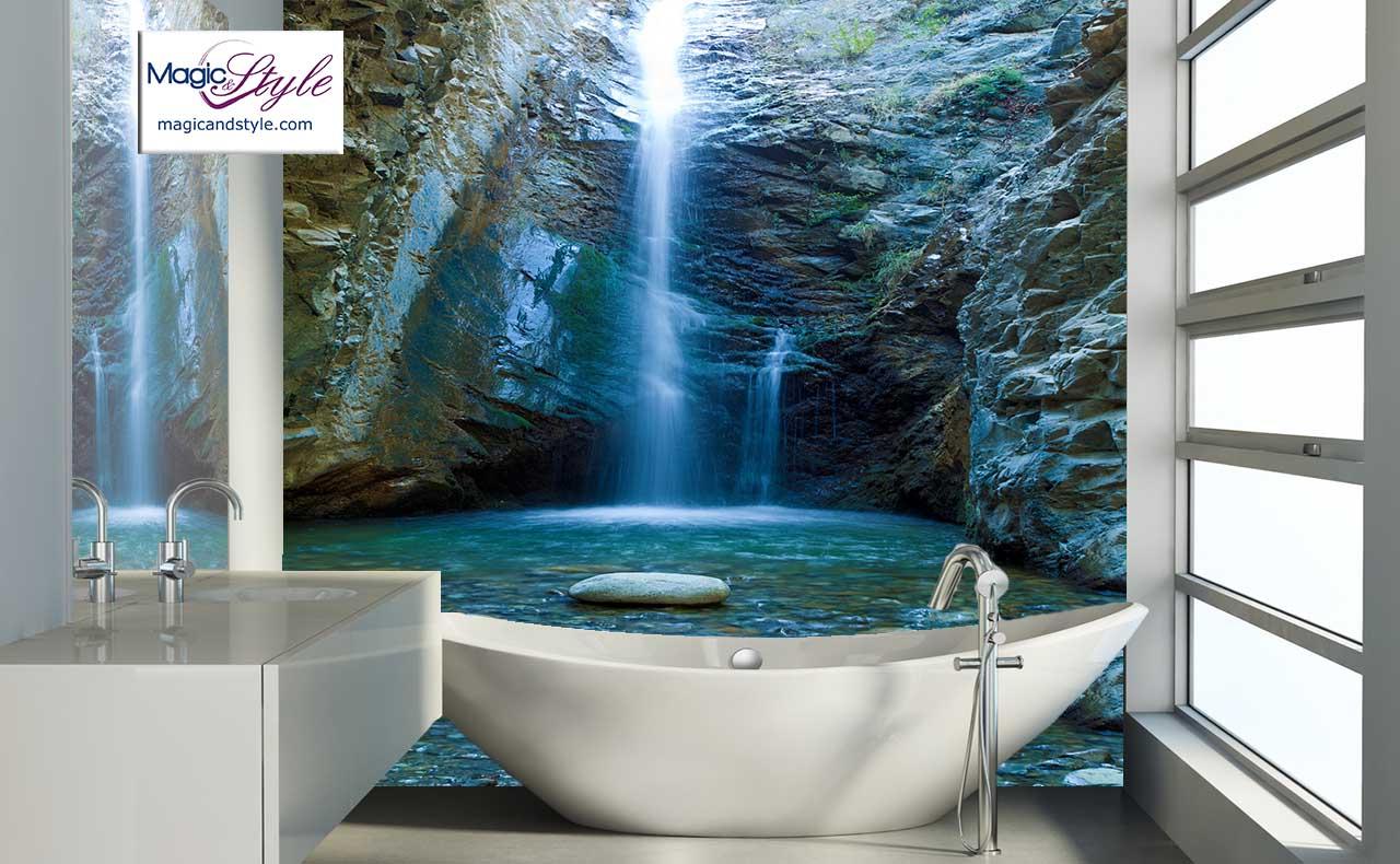 Panel Do łazienki 120x120cm Wodospad W Skałach