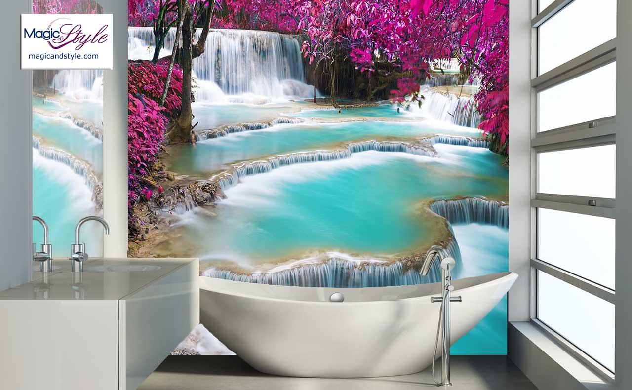 Fototapeta Q Do łazienki Wodospad Kwiaty